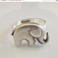 ON SALE 10% OFF Elephant Ring Good Luck Symbol Best Friend Gift Whimsical Fun