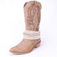 Western Cowboy Leather Lace Boots Shoes Women Horse 50%OFF