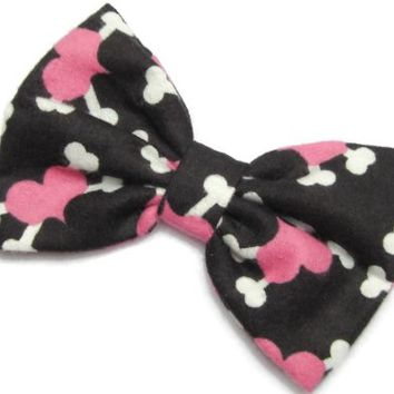 Hearts and Bones Hair Bow Clip Creepy Cute Kawaii Style Handmade By Sweet in the City