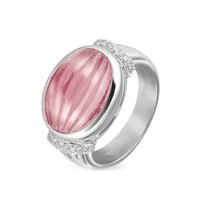 Roma Imperiale Designer Rings Carved Pink Rubellith and Diamond 18K Gold Ring
