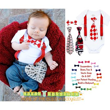 Newborn Boy Valentines Day Outfit with Tie and Suspenders Heartbreaker