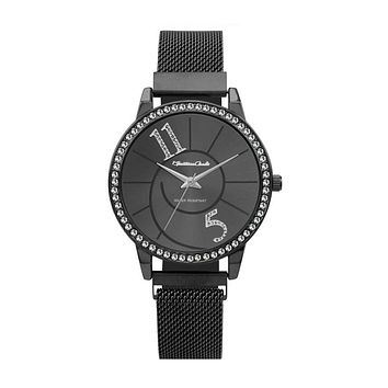 Silverton Montres Carlo Black Stainless Steel Mesh Band Watch