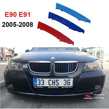 3D M Front Grille Trim Strips grill Cover motorsport Stickers For 2005-2008 BMW 3 series E90 E91 320 325 330 335