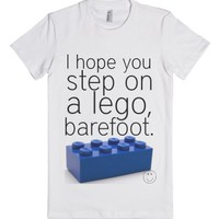 Lego, barefoot.-Female White T-Shirt