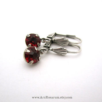 Small Red Earrings - Tiny Ruby Red Rhinestone - Estate Bridal Jewelry - Elegant Silver Plated