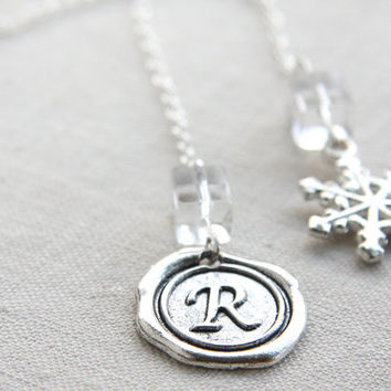 Monogram Pendant, Initial Personalized Bookmark, Custom Stamped Bookmark Alphabet Wax Seal, Snowflake Charm Sterling Silver Chain