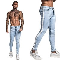 Skinny Jeans For Men Tape Designer Distressed Stretch Jeans Brand Blue Skinny Jeans Ripped Slim Fit Ankle Tight