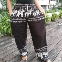 Exotic Black Elephants Print Trousers Yoga Pants Summer Hippie Baggy Boho Style Gypsy Thai Tribal Comfy Clothing For Beach Summer Unisex