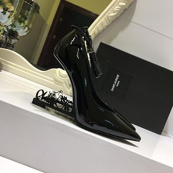 YSL Saint Laurent Women's Leather High-heeled Shoes