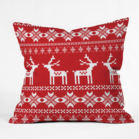 Natt Christmas Red Deer Outdoor Throw Pillow