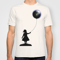 The Girl That Holds The World - White background T-shirt by Nicklas Gustafsson