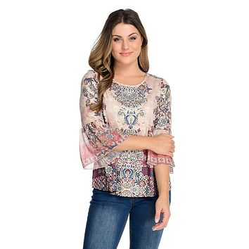 One World Printed Knit & Chiffon 3/4 Bell Sleeve Embellished Top