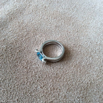 Sterling Silver Greek Goddess Ring with beautiful sky blue stone, High polished silver with modern and original design