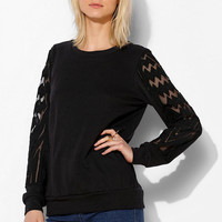 Sparkle & Fade Mesh Pieced Pullover - Urban Outfitters