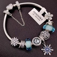 Pandora Fashion Women Hot Sale Stylish Elegant Lady Crystal Rhinestone Earrings, jewelry, Necklace,Ring