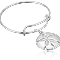 Alex and Ani Expandable Wire Ring, Sand Dollar, Sterling Silver Stackable Ring, Size 7-9