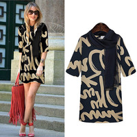 Dark Blue Graphic Print Scarf Neckline Tunic Mini Dress