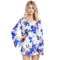 Blue Floral Print Long Sleeve Romper