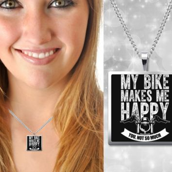 My Bike Makes Me Happy Necklace
