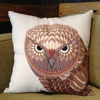 Pillow - Embroidered Owl - Small Merch