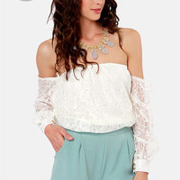 LULUS Exclusive Attagirl Off-the-Shoulder Ivory Lace Top