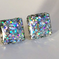Holographic earrings, glitter earrings, glitter studs, stud earrings, hologram earrings