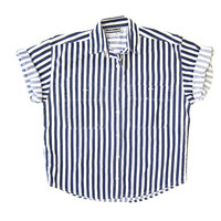 80s striped navy blue + white shirt button down mod sailor shirt summer button up collared tshirt DELLS boho hipster graphic top Mens SMALL