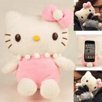 Authentic iPlush Plush Toy Case for iPhone 5 5G itouch 5 (Pink Hello Kitty)