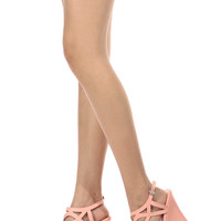 Peach Faux Leather Cut Out Sling Back Wedges