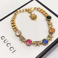 GUCCI New fashion butterfly multicolor diamond bracelet women Golden