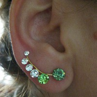 Ear Sweep Wrap - Cuff Earring with Swarovsky - Gold Filled - GREEN
