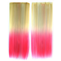 Wig Dyed Gradient Ramp Hair Extension   beige to pink