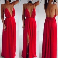 Women Split Dress Evening Party Elegant Long Dress Sexy Red Spaghetti Strap Backless Pleated Maxi Dress SV005369|28001 = 1946119556