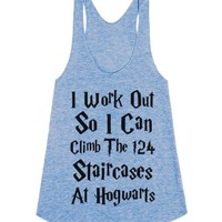 Climb The Hogwarts Staircases-Unisex Athletic Blue Tank