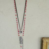 Day Of The Dead Upcycled Rosary Necklace Pink Black Silver Gothic Rocker Aztec Native Silver Skeleton Skull Rose Ornate Crucifix Upcycle