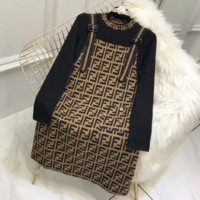 Fendi Women new fashion more letter print personality long sleeve top and straps dress high quality two piece suit