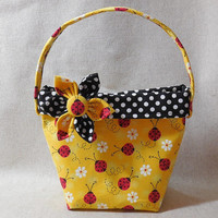 Cute Ladybug Little Girls' Purse With Detachable Fabric Flower Pin