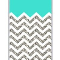 iZERCASE Chevron Pattern Turquoise Grey White Mixed RUBBER iphone SE, iPhone 5S case (NOT ACTUAL GLITTER) - Fits iphone SE, iPhone 5S T-Mobile, AT&T, Sprint, Verizon and International