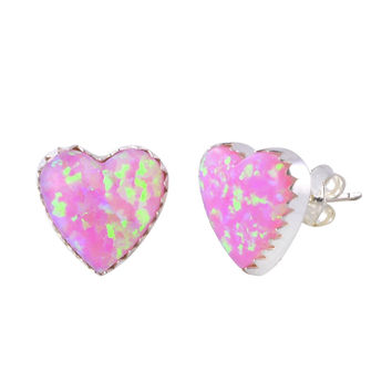 Opal Stud Earrings Iridescent Pink 11mm Heart Handmade in USA