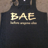 BAE Tank - Before Anyone Else - Ruffles with Love - Racerback Tank - Womens Fitness - Workout Clothing - Workout Shirts with Sayings