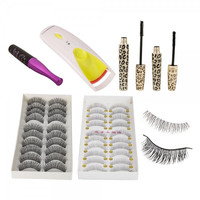 5 PCS 20 Pairs Two Style False Eyelashes Leopard Mascara Eyelash Curler False Eyelashes Glue Eye Makeup Set