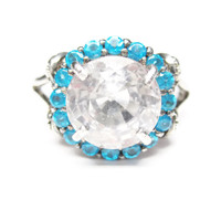White Sapphire and Apatite Halo Ring Sterling Size 9