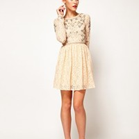 ASOS Lace Skater Dress With Crystal Embellishment