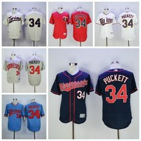 Baseball 34 Kirby Puckett Jersey Flexbase Minnesota Twins Throwback Jerseys 1987 Cooperstown Cream Blue Grey Pinstripe White Cheap Discount