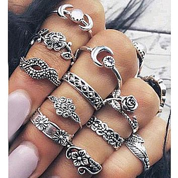 11Pcs  Silver Gold Boho  Moon Joint Rings Knuckle & Rings Set