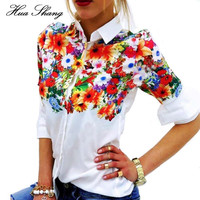 2016 New Design Floral Butterfly Printed Women Chiffon Blouses White Shirts Casual Office OL Spring Summer Women Tops