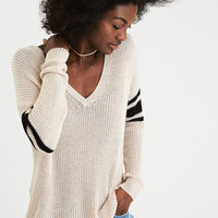AEO Varsity Stripe V-Neck Sweater, Oatmeal Heather