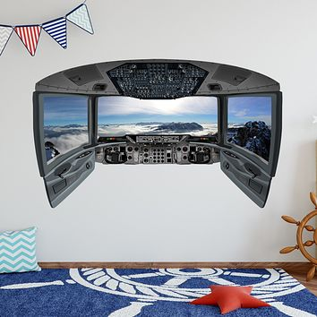Airplane Cockpit Wall Decal | Plane Window Sticker Kids Room Vinyl Decor - CP21