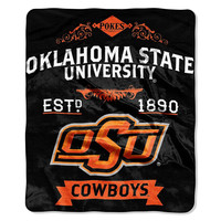 Oklahoma State Cowboys NCAA Royal Plush Raschel Blanket (Label Series) (50x60)