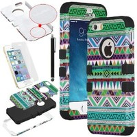 iPhone 5S Case, ULAK 3 in 1 Shield Case for iPhone 5s 5 Tribal patterned Hybrid High Impact Soft TPU + Hard PC Shockproof Cover for Apple iPhone 5S 5 (Tribal-Green+Black)